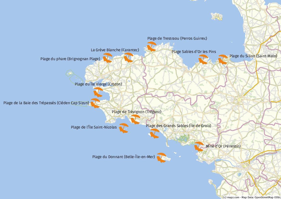 Bretagne Karte Strände