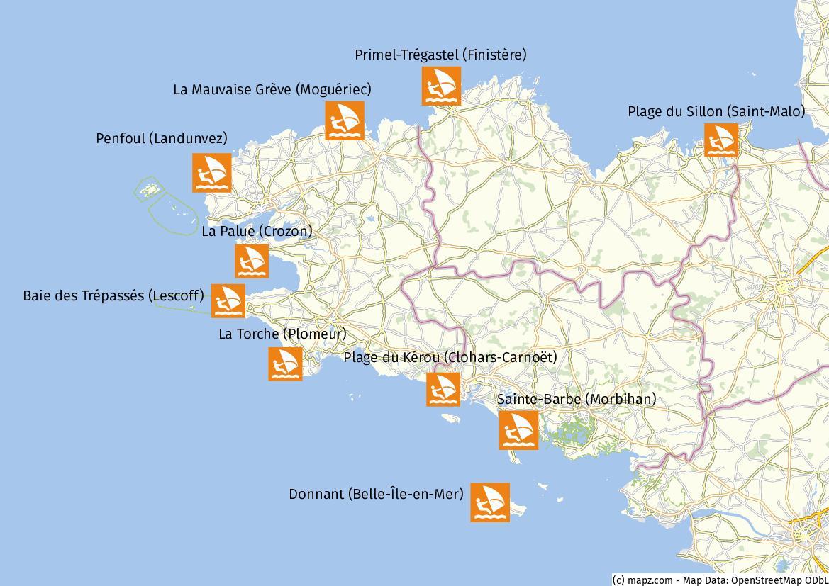 Bretagne Surfen Karte