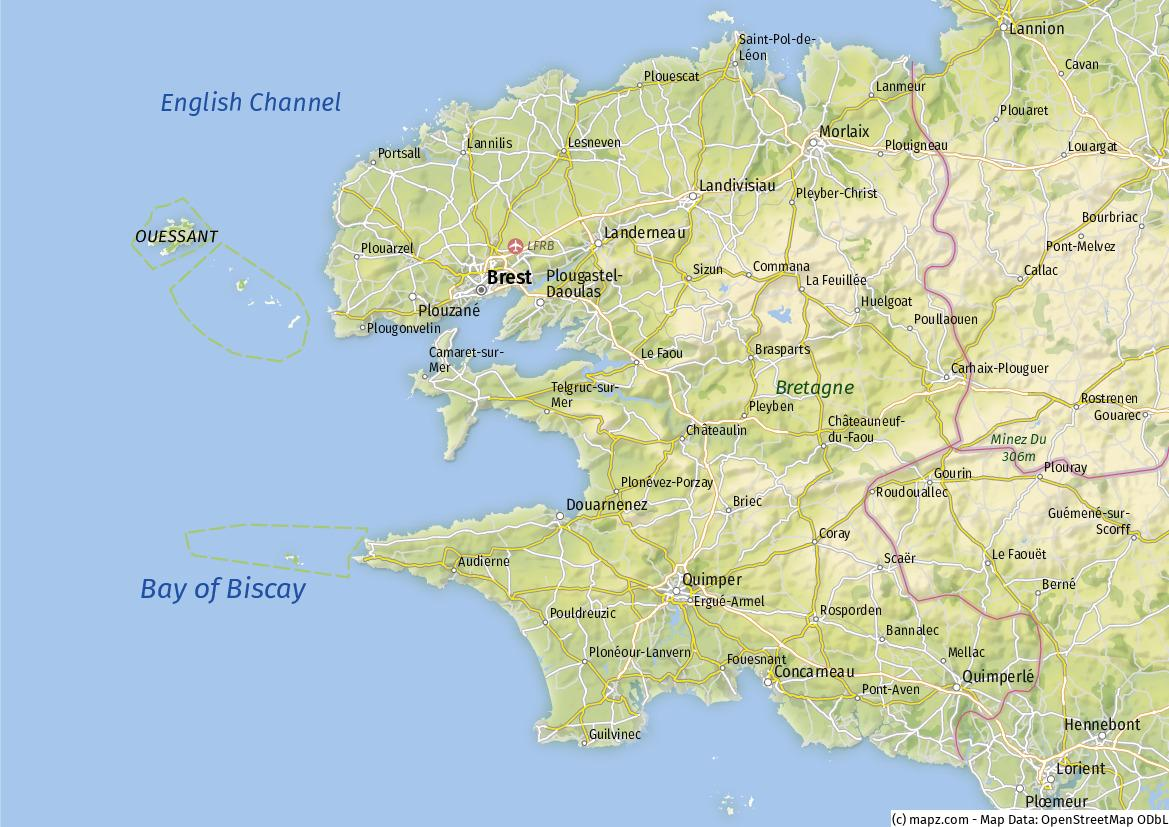 Cotes D Armor Morbihan Finistere Karte Geographische