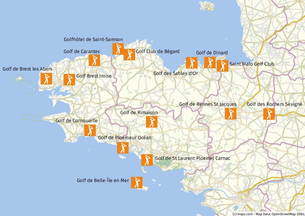 Bretagne Golfplätze Karte