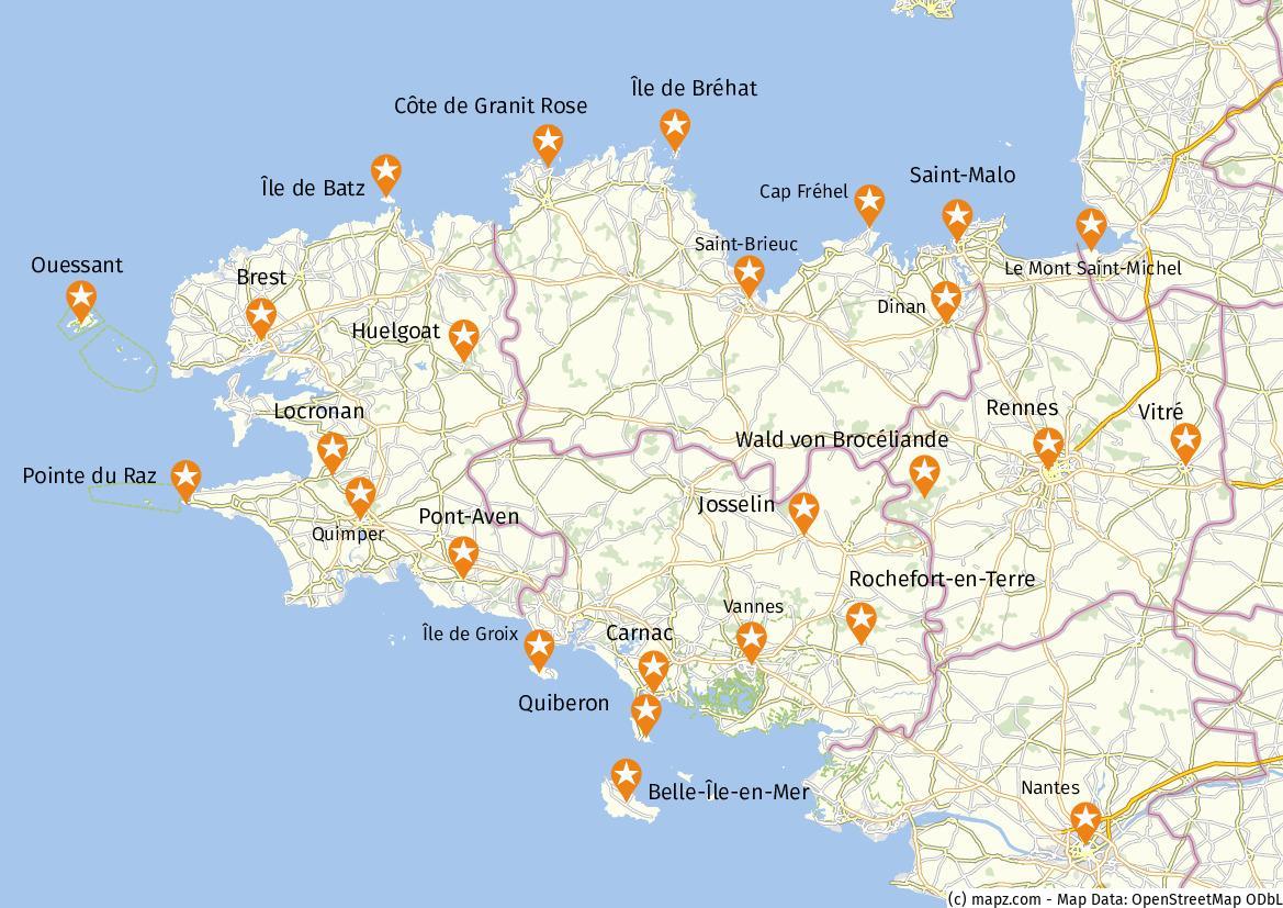 Karte Bretagne Sehenswürdigkeiten