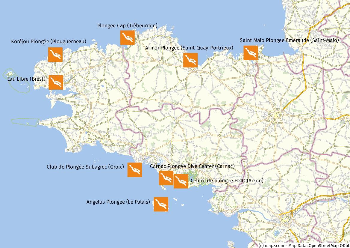 Karte Tauchen Bretagne