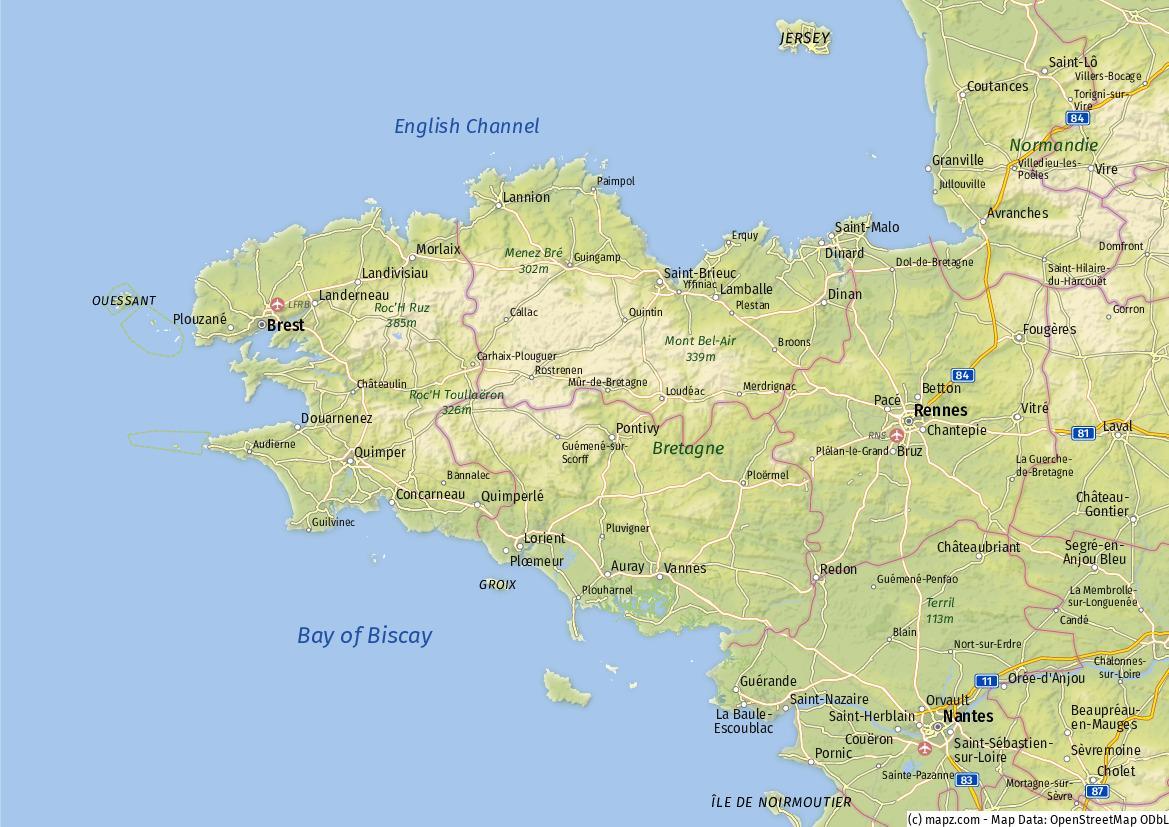 bretagne karte der beste berblick ber den nordwesten frankreichs. Black Bedroom Furniture Sets. Home Design Ideas